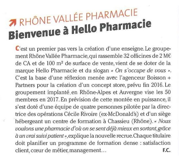 « Nouvelle collaboration avec Hello Pharmacie »
